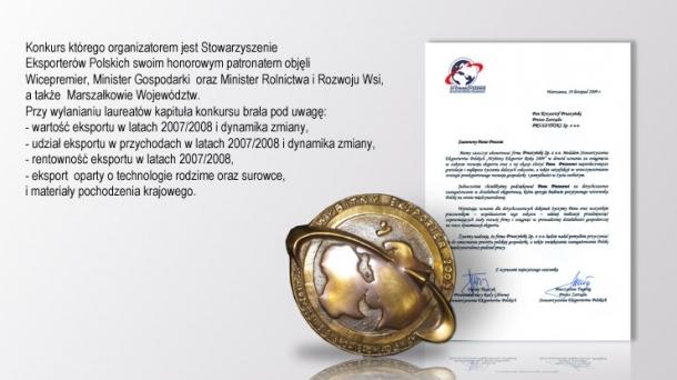 Nagroda: Wybitny Eksporter Roku 2009  firmy Blachy Pruszyński