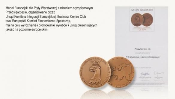 Medal Europejski dla Płyty Warstwowej z rdzeniem styropianowym firmy Blachy Pruszyński