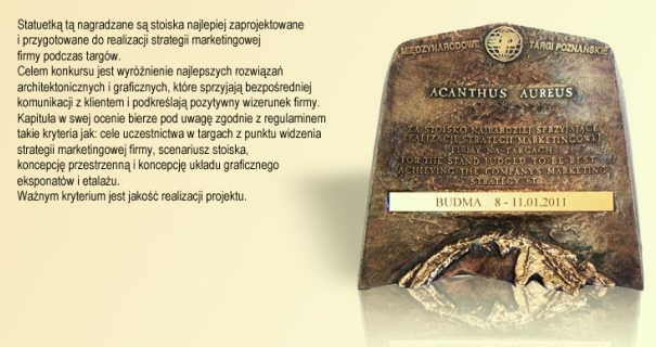 Nagroda w konkursie Acanthus Aureus - Targi Budma 2011  firmy Blachy Pruszyński