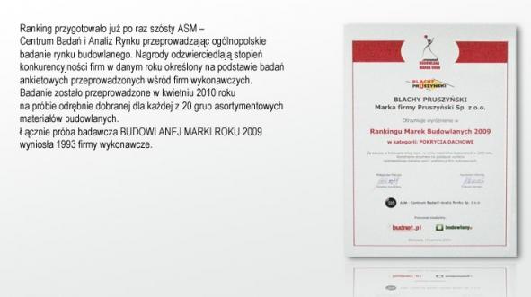Budowlana Marka Roku 2009 w kategorii Pokrycia dachowe firmy Blachy Pruszyński