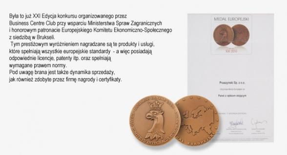 Medal Europejski dla Paneli z rąbkiem stojącym firmy Blachy Pruszyński