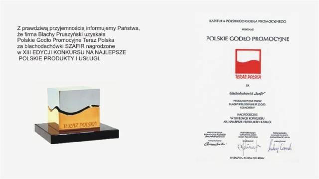 Godło Promocyjne - Teraz Polska firmy Blachy Pruszyński