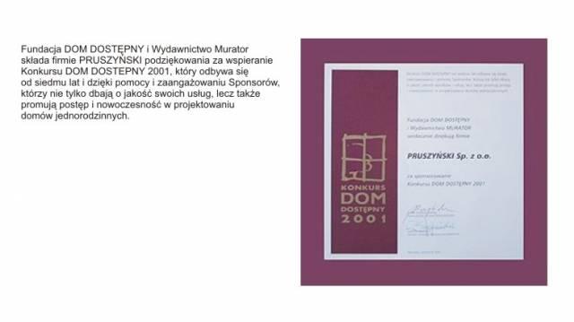 Konkurs Dom Dostepny 2001 firmy Blachy Pruszyński