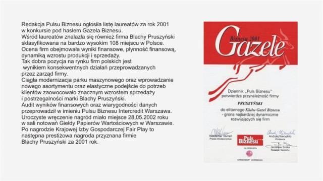 Gazela Biznesu 2001 firmy Blachy Pruszyński