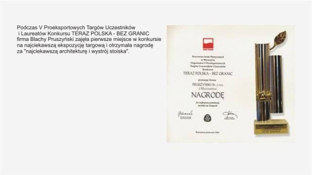 TERAZ POLSKA - BEZ GRANIC  firmy Blachy Pruszyński