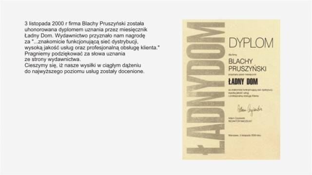 Dyplom od Ładnego Domu firmy Blachy Pruszyński