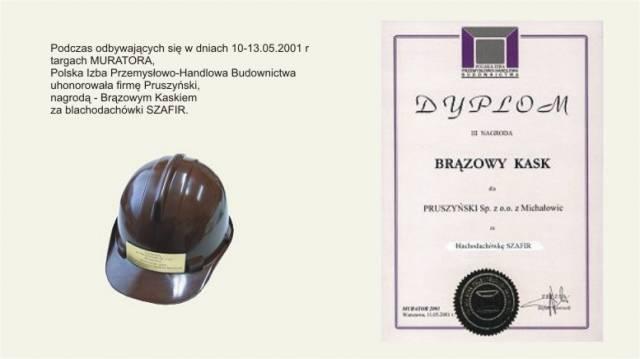 Brązowy Kask dla blachodachówek SZAFIR firmy Blachy Pruszyński
