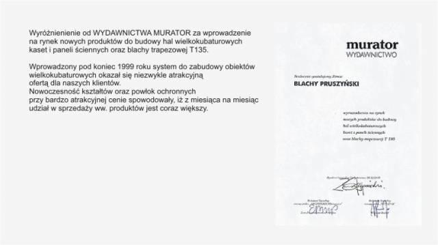 Wyróżnienie od Wydawnictwa Murator firmy Blachy Pruszyński