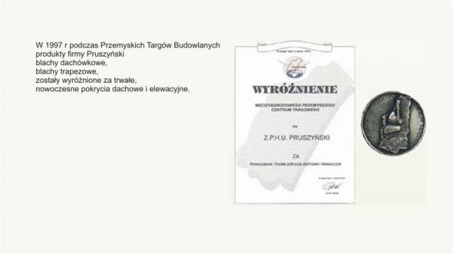 Wyróżnienie Międzynarodowego Przemyskiego Centrum Targowego  firmy Blachy Pruszyński