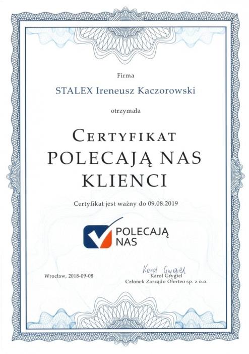 Certyfikat Polecają nas Klienci