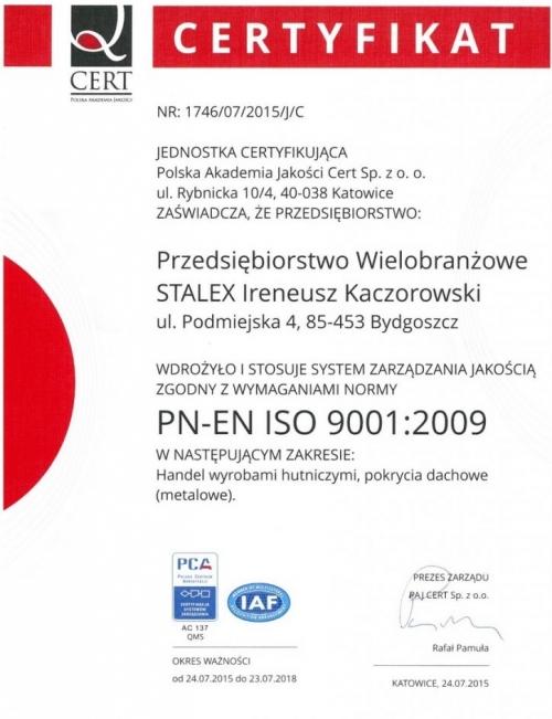 Certyfikat wdrożenia Systemu Zarządzania Jakością Stalex