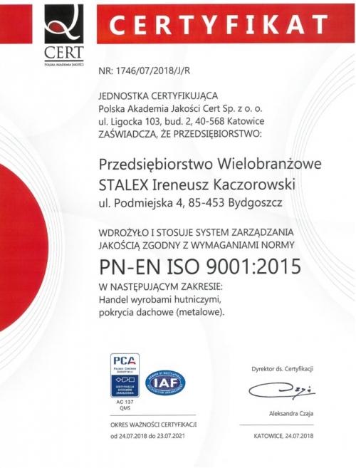 Certyfikat PN-EN ISO 9001:2015
