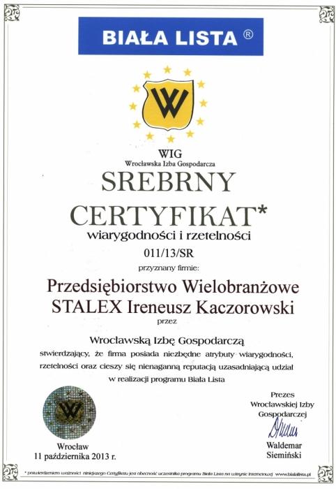 Srebrny Certyfikat wiarygodności i rzetelności dla firmy Stalex