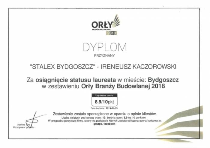 Dyplom Orły Branży Budowlanej 2018