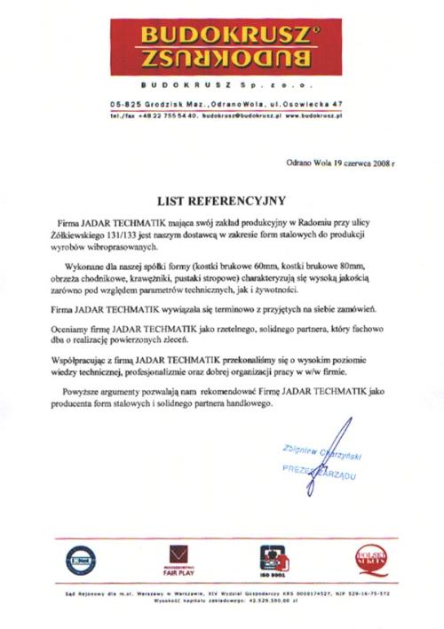 List referencyjny BUDOKRUSZ dla firmy Techmatik