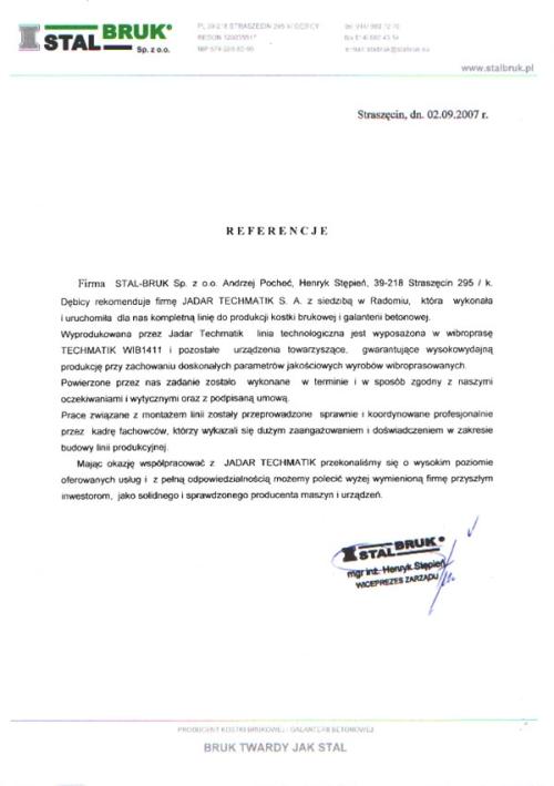 Referencje STAL BRUK dla firmy Techmatik