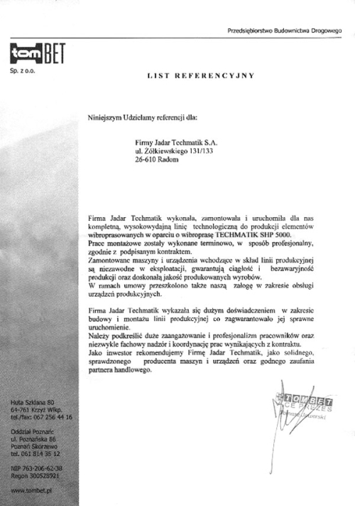 List referencyjny TOMBET dla firmy Techmatik