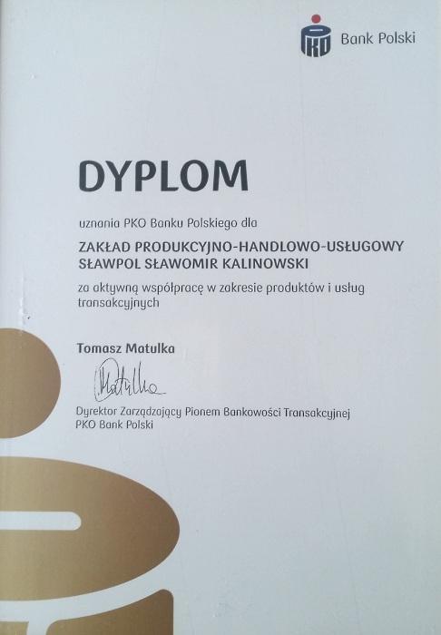 Dyplom uznania PKO Banku Polskiegodla firmy Sławpol