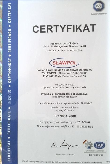 Certyfikat ISO 9001:2008 firmy Sławpol