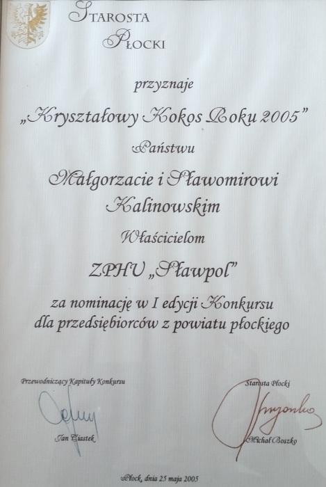 Kryształowy Kokos Roku 2005 dla firmy Sławpol