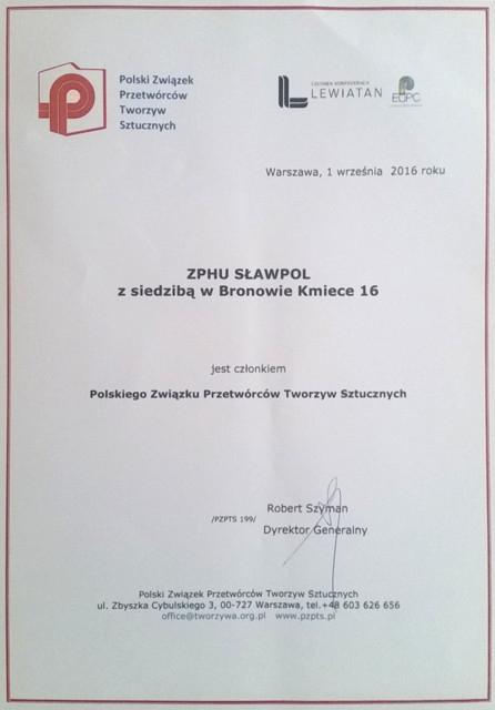 Członkostwo w Polskim Związku Przetwórców Tworzyw Sztucznych