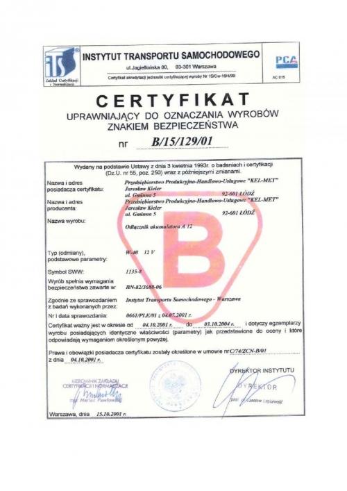Certyfikat dla odłącznika akumulatora w-40, Kel-Met