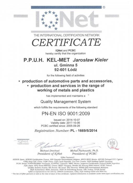 Certyfikat Jakości ISO IQNet, Kel-Met