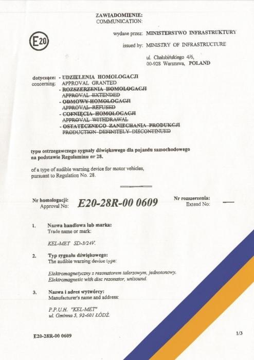 Homologacja na sygnał dźwiękowy 24V, Kel-Met