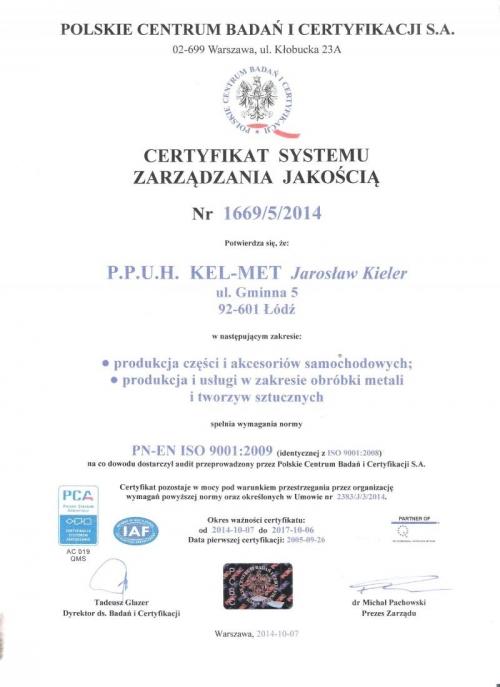 Certyfikat Jakości ISO Polskie Centrum Badań i Certyfikacji, Kel-Met