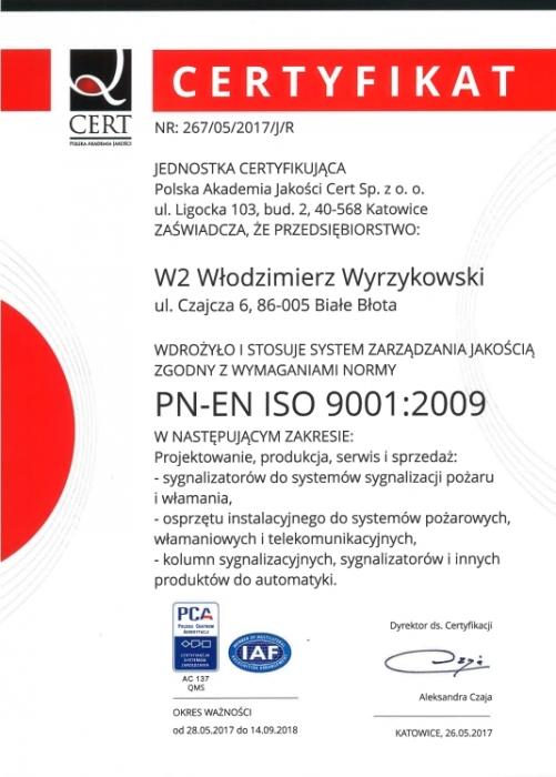 Certyfikat PN:EN ISO 9001:2009