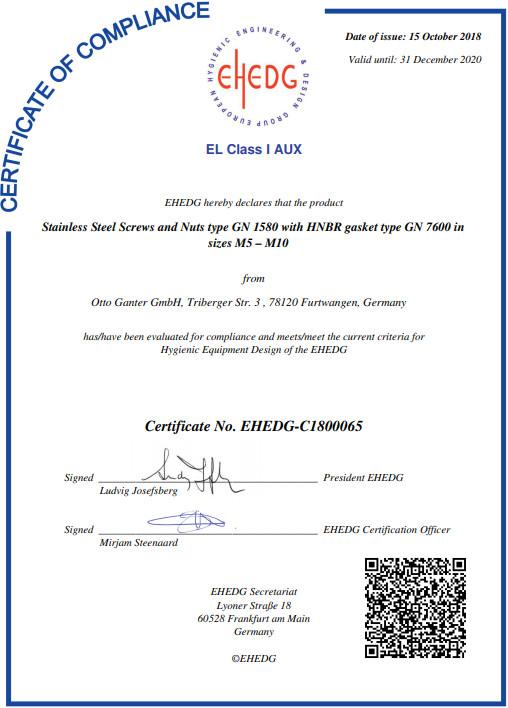 EHEDG-Certyfikat GN 1580