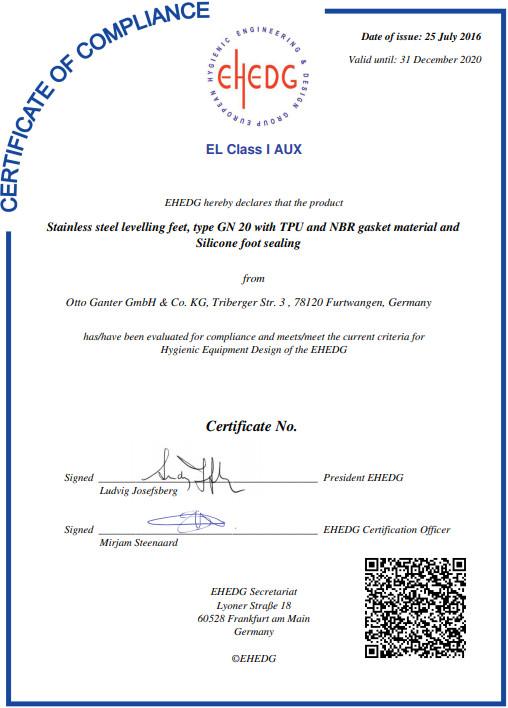 EHEDG-Certyfikat GN 20