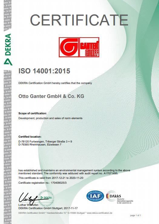 Certyfikat Systemu Zarządzania Środowiskowego ISO 14001:2015 - Otto Ganter GmbH & Co. KG