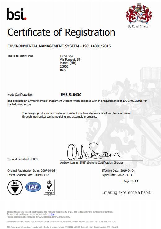 Certyfikat Systemu Zarządzania Środowiskowego ISO 14001:2015 - Elesa S.p.A.