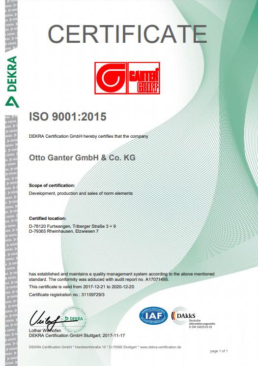 Certyfikat Systemu Zarządzania Jakością ISO 9001:2015 - Otto Ganter GmbH & Co. KG
