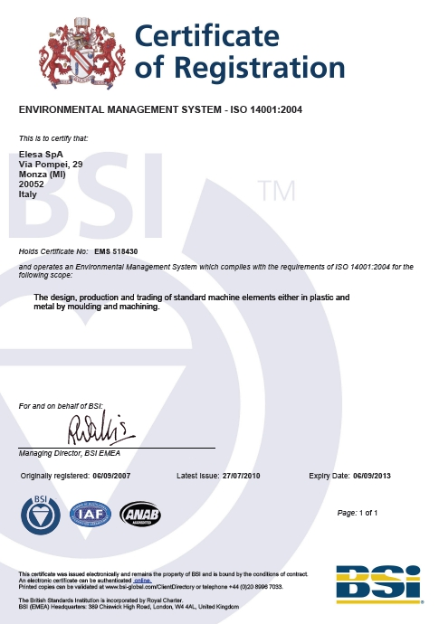 Certyfikat ISO 14001:2004 Elesa+Ganter