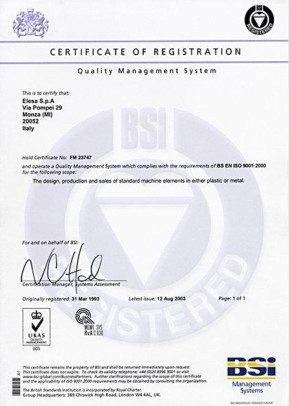 Certyfikat BS EN ISO 9001:2000 dla firmy Elesa+Ganter