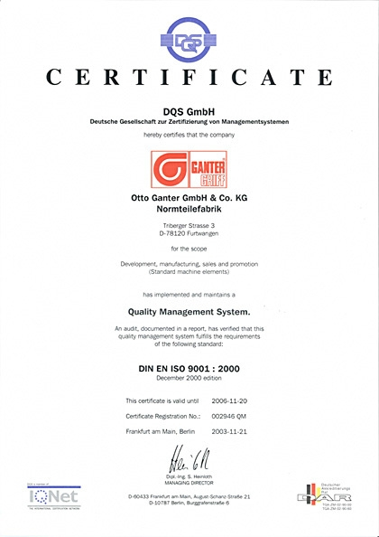 Certyfikat DIN EN ISO 9001:2000 dla firmy Elesa+Ganter