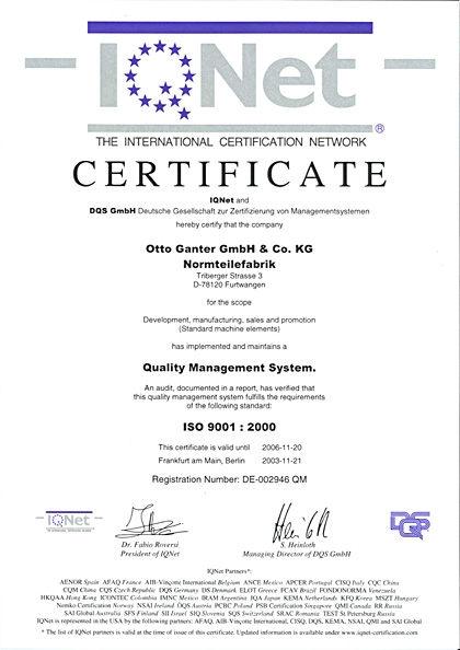 Certyfikat ISO 9001:2000 dla firmy Elesa+Ganter