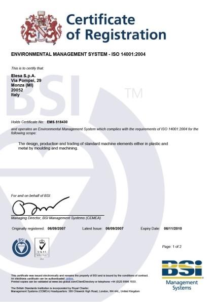 Certyfikat ISO 14001:2004 dla firmy Elesa+Ganter