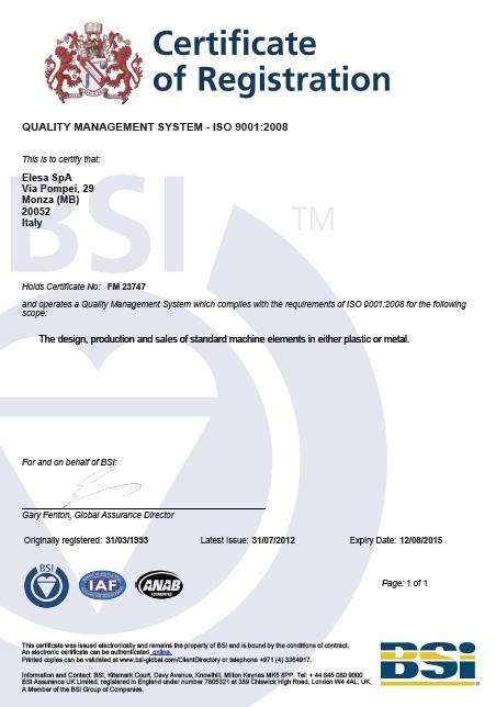 Certyfikat ISO 9001:2008 firmy Elesa+Ganter