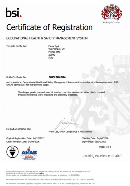 System Zarządzania Bezpieczeństwem i Higieną Pracy ISO 18001 - ELESA S.p.A.