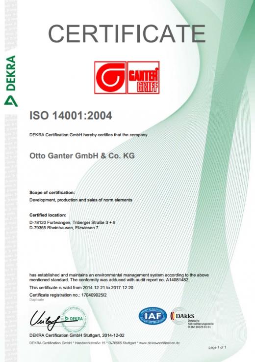 Certyfikat Systemu Zarządzania Środowiskowego ISO 14001:2004 - Otto Ganter GmbH & Co. KG