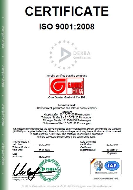 Certyfikat ISO 9001:2008 (Dekra Certification) dla firmy Elesa+Ganter