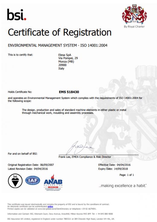 Certyfikat EMS 518430
