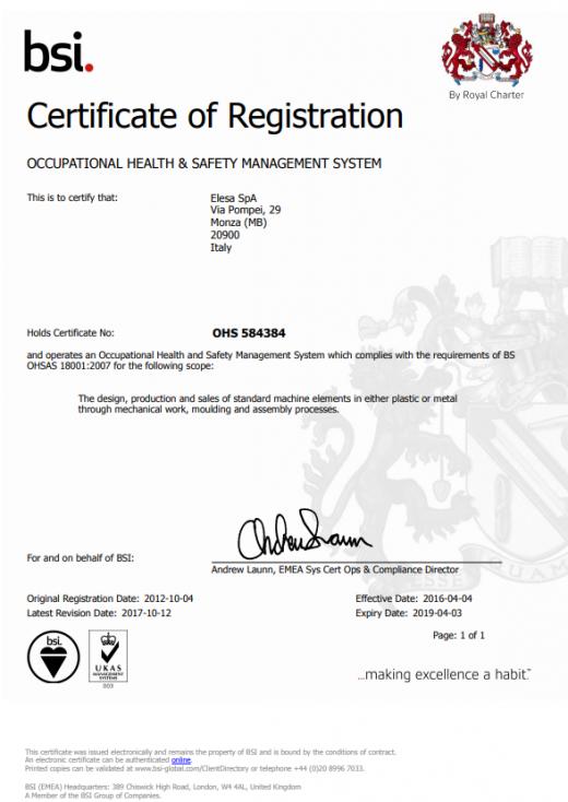 Certyfikat ISO 18001