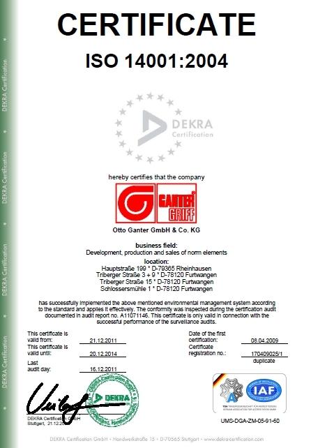 Certyfikat ISO 14001:2004 (Dekra Certification) dla firmy Elesa+Ganter