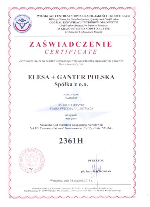 Natowski Kod Podmiotu Gospodarki Narodowej NCAGE – ELESA+GANTER Polska Sp. z o.o.