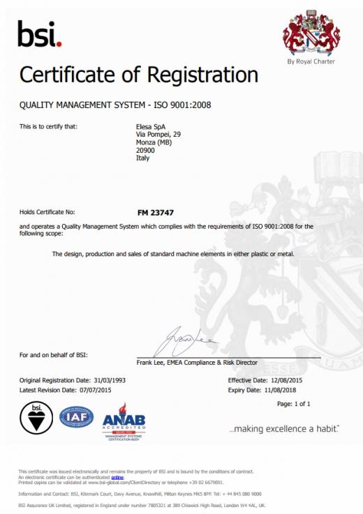 System Zarządzania Jakością ISO 9001:2008 - ELESA S.p.A.