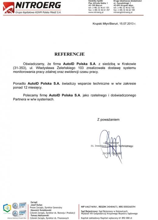 Nitroerg S.A. (grupa KGHM Polska Miedź S.A.) - System Rejestracji Czasu Pracy oraz Kontroli Dostępu w oparciu o technologię biometryczną i karty zbliżeniowe.